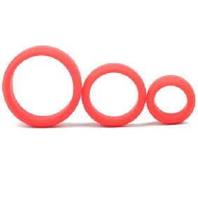 Enhanced Red Color Silicone Triple Cock Ring Set