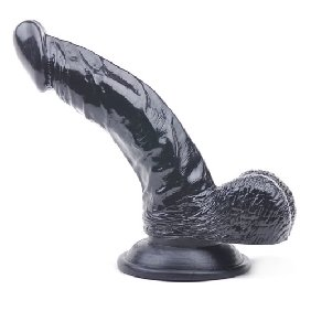 6.5 Inches Black Color Realistic Dildo with Balls