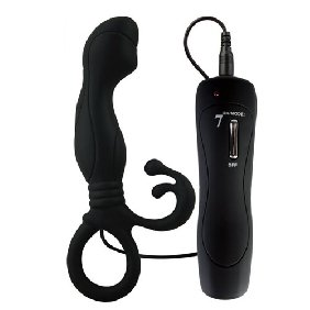 7 Speeds Silicone Prostate Stimulator in Black Color