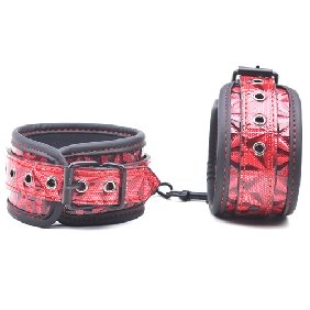 Red Color Embossed Ankle Cuffs
